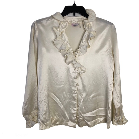 Made in USA Vintage 1990s Does 1970s Cream satin Pirate Blouse 90s Ruffle Collar Balloon Sleeve Blouse Large XL